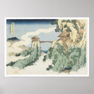 The Hanging Cloud Bridge Hokusai 1834 Poster