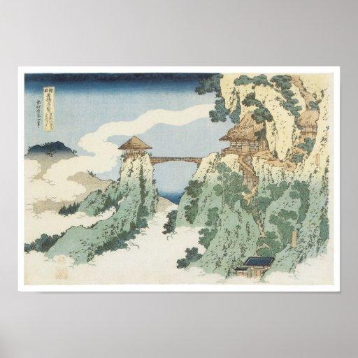 The Hanging Cloud Bridge, Hokusai, 1834 Poster