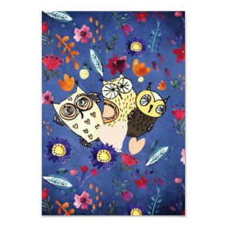 The happy Bird Owl Animal Family in Flower Garden Card