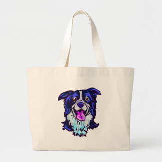The happy Border Collie Love of My Life Large Tote Bag