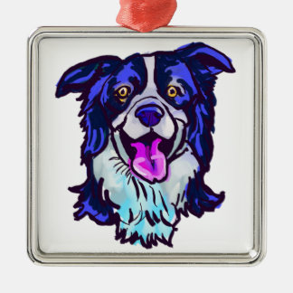 The happy Border Collie Love of My Life Metal Ornament