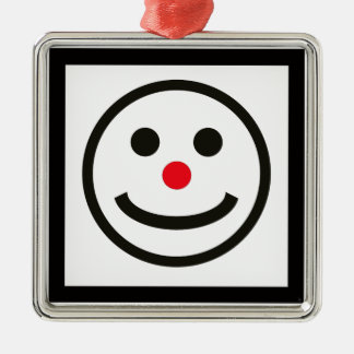 The Happy Face Silver-Colored Square Ornament