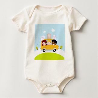 The happy School Kids in yellow bus Baby Bodysuit