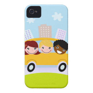 The happy School Kids in yellow bus iPhone 4 Cover