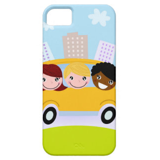 The happy School Kids in yellow bus iPhone 5 Covers