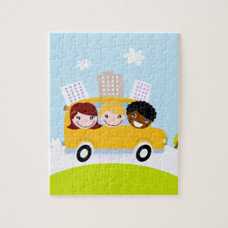 The happy School Kids in yellow bus Jigsaw Puzzle