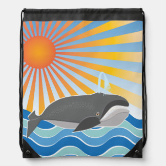 The Happy Whale Drawstring Backpacks