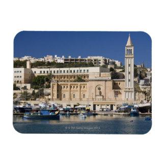 The harbor and church at Marsaskala on the Rectangular Photo Magnet