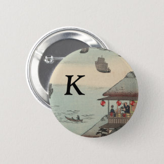 The Harbor at Kanagawa, Japan: Monogram 2 Inch Round Button