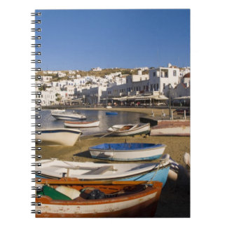 The harbor town with colorful fishing boats spiral notebooks