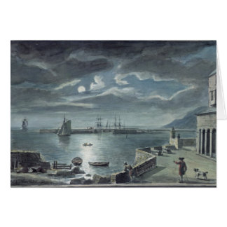 The Harbour and the Cobb, Lyme Regis by Moonlight Card
