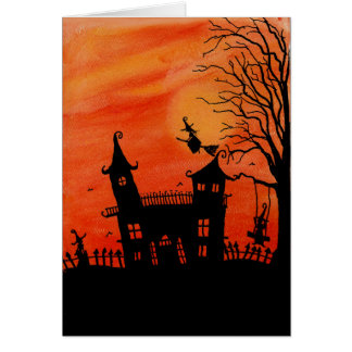 The Haunted Witches House Halloween Card