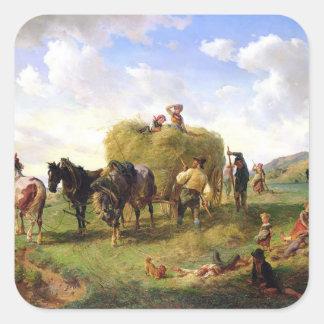 The Hay Harvest, 1869 Square Sticker