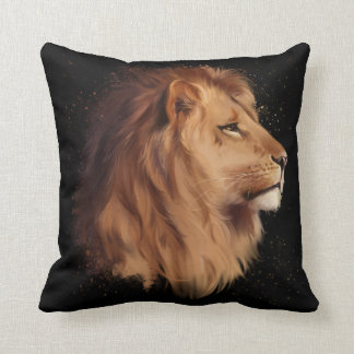 The head of a lion throw pillow
