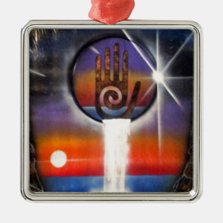 The Healing Hand of the Universe Silver-Colored Square Ornament