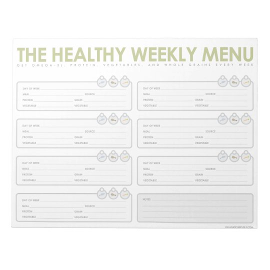 The Healthy Weekly Menu Notepad