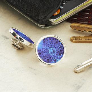 The Heart of Winter, a Purple-Blue Fractal Dahlia Lapel Pin