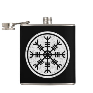 The Helm Of Awe Vikings Hip Flask