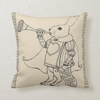 The Herald Rabbit from Alice in Wonderland Throw Pillow