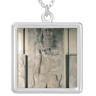 The hero Gilgamesh holding a lion Silver Plated Necklace