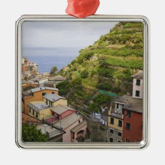 the hillside village of Manarola-Cinque Terre, Silver-Colored Square Ornament
