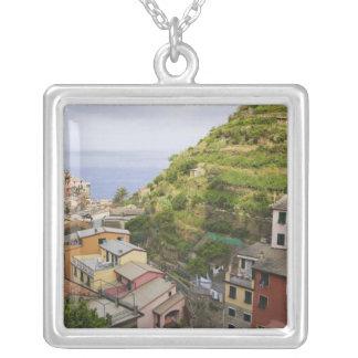 the hillside village of Manarola-Cinque Terre, Square Pendant Necklace
