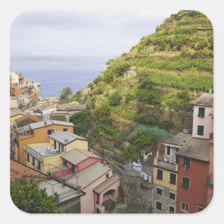 the hillside village of Manarola-Cinque Terre, Square Sticker