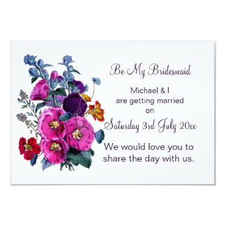 """The Hollyhocks Collection Be My Bridesmaid 3.5"""" X 5"""" Invitation Card"""