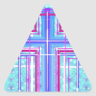 The Holy Cross... on sparkling lights. Triangle Sticker