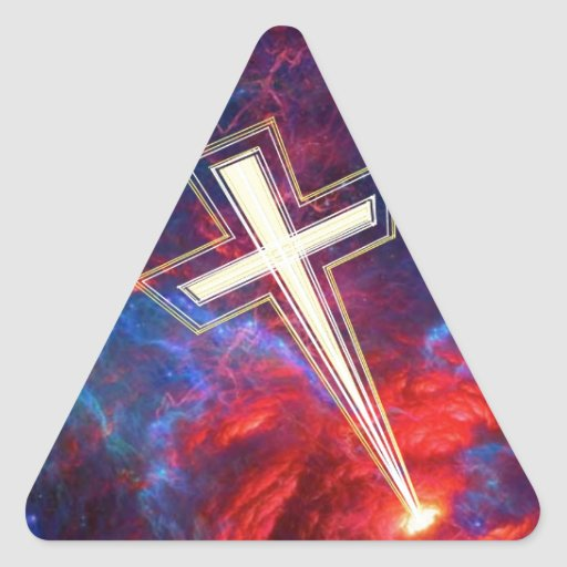 The Holy Cross... out of the Heavens Triangle Stickers