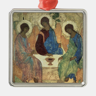 The Holy Trinity, 1420s (tempera on panel) Silver-Colored Square Ornament