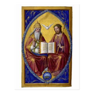 The Holy Trinity by Jean Bourdichon circa 1508 Postcard