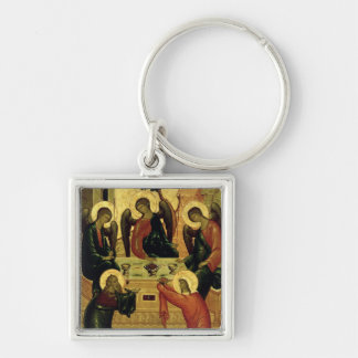 The Holy Trinity, Novgorod School, 15th century Silver-Colored Square Keychain
