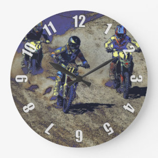 The Home Stretch! - Motocross Racer Large Clock