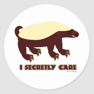The Honey Badger Secretly Cares Round Sticker