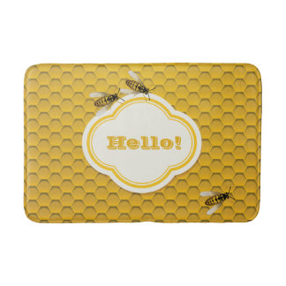 The Honeycomb and Bees Bathroom Mat