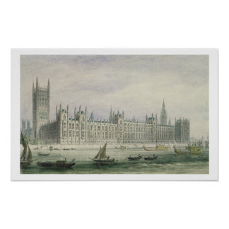 The Houses of Parliament (graphite, pen & ink & w/ Posters