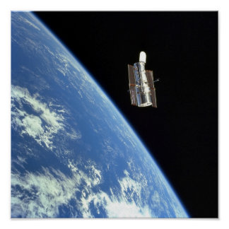 The Hubble Space Telescope with a blue earth Poster