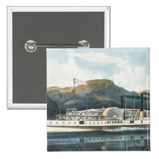 The Hudson River Steamboat `St. John' 2 Inch Square Button