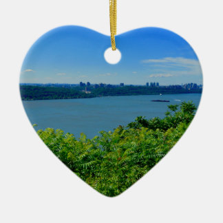 The Hudson River with NYC Ceramic Heart Ornament