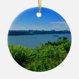 The Hudson River with NYC Round Ceramic Ornament