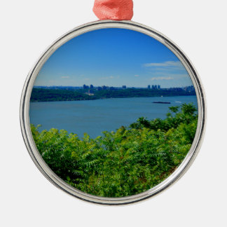 The Hudson River with NYC Silver-Colored Round Ornament