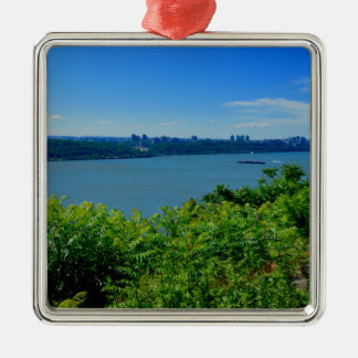 The Hudson River with NYC Silver-Colored Square Ornament