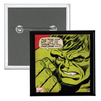 "The Hulk ""Challenge"" Comic Panel 2 Inch Square Button"