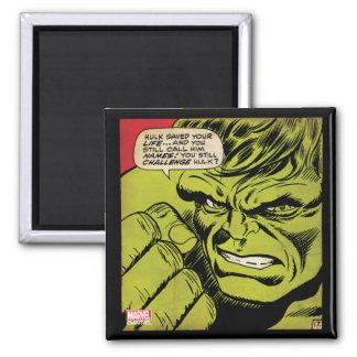 "The Hulk ""Challenge"" Comic Panel Square Magnet"