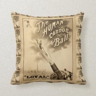 The Human Cannon Ball Vintage Circus Act Throw Pillows