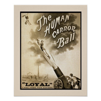 The Human Cannon Ball Vintage Poster