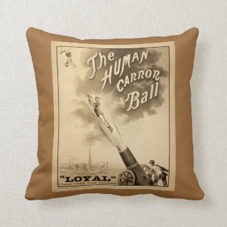 The Human Cannonball Vintage Circus Advertisement Throw Pillow