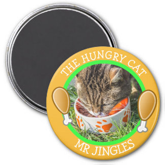 THE HUNGRY CAT Humorous Pawprints Photo Button 3 Inch Round Magnet