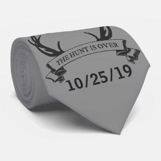 """The Hunt is Over"" Custom Color Rustic Wedding Tie"